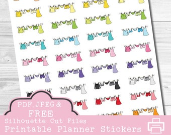 Laundry Planner Stickers, Clothesline Stickers, Printable Planner Stickers, Erin Condren Stickers, Wash Clothes Stickers, Cut Lines