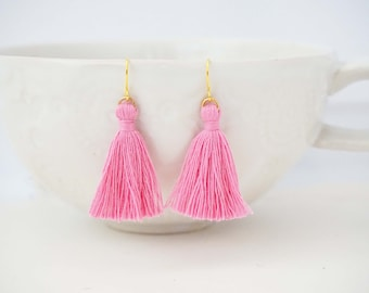Rose Pink and Gold Tassel Earrings