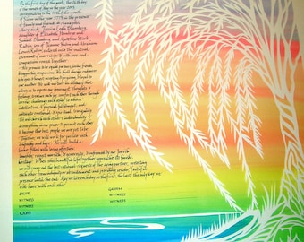 Willow Tree by Shore Papercut Ketubah - calligraphy Hebrew and English