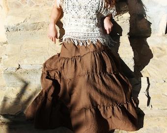 Boho lagenlook brown maxi mid calf beautiful skirt.
