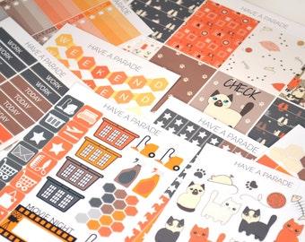 200+ Gray and Orange Kitty Cat Sticker Set for your Erin Condren Life Planner