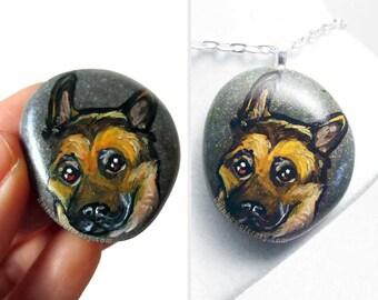 German Shepherd, Dog Necklace, Original Painting, Art Pendant, Memorial Portrait, Sympathy Gift, Pet Keepsake, Hand Painted Pebble Jewelry
