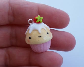 Strawberry cupcake charm, kawaii cupcake keychain, strawberry cupcake planner, stitch marker, planner accessories, polymer clay charm