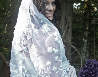 Haute Couture Applique Floral Sheer Organdy  Veil