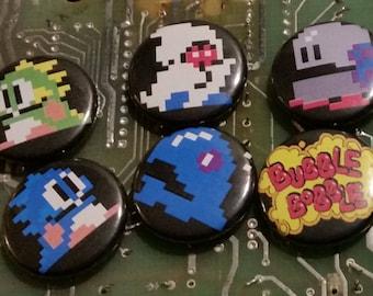 Set of 6 One-Inch Bubble Bobble Badges Retro Pixel Arcade Pins Buttons 8-Bit