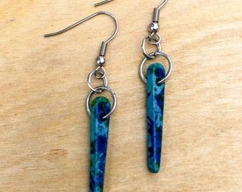 TAZZIL EARRINGS - blue ceramic spikes, stainless steel ear hooks