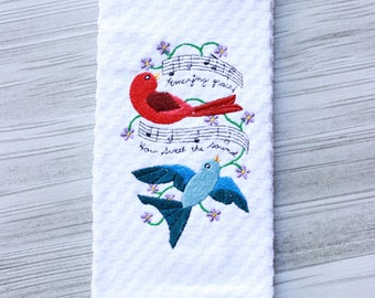 Religious Song Towels / Kitchen Towel / Amazing Grace Tea Towel / Amazing Gracel / Embroidery Towel / Dish Towels  / Housewarming Gift