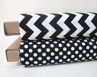 Black and White Small Dots and Small Chevrons Half Yard Fabric Bundle - Total 1 Yard - By Riley Blake Designs - 1/2 Yard Bundle