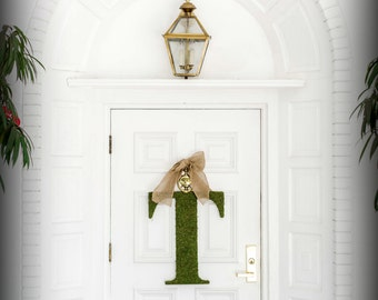 Mothers Day Wreath.  Spring Wreath. Letter Wreath. Custom Moss Letter Wreath. Monogram Wreath.  Simple Elegance for the Southern Belles.