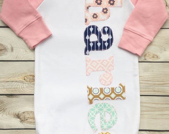 sweet sprouts girls boho personalized name monogram newborn gown hospital outfit