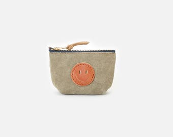 SmileNo.1 Genuine Pig Skin Leather Pouch, Bridesmaid gift, Zipper leather pouch, Leather case