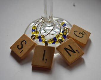 SING 4 Fun Wine Charms Vintage Scrabble Tiles With Blue and Yellow Accent Beads ~ Set of 4 on Ring Holder