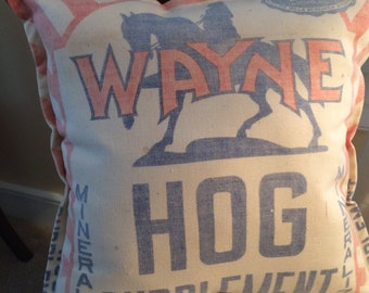 Vintage Feed Sack Pillow Wayne Hog Supplement
