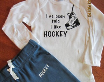 Hockey Onesie and Sweat Pants / Hockey Sweats / Baby Hockey Outfit