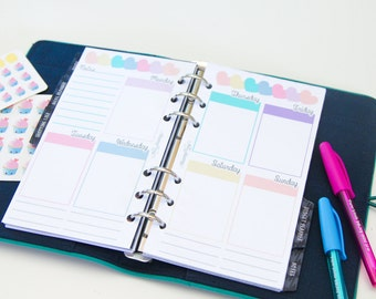 Personal sized PRINTED planner inserts - Week on two pages - Vertical - Erin Condren style