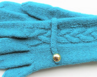 Blue knitted gloves wool felted finger gloves Turquoise elegant woman mittens blue turquoise GIFT FOR HER