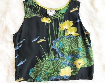 Vintage S A Rose Lilly Pad and Fish Blouse