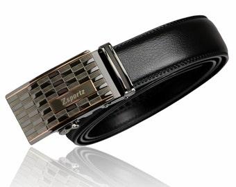 Men's Automatic Ratchet Buckle Leather Black Belt