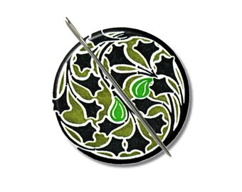 Art Nouveau floral 5 needle minder magnet cross stitching sewing tool sewing notion wife gift under 10 stocking stuffer green black
