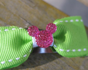 Green Bow/Pink Mickey ears