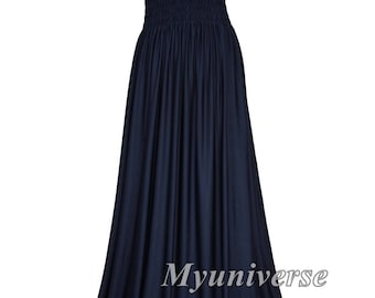 Navy Blue Evening Dress Formal Gown Gala Maxi Dress Bridesmaid Women Plus Size Clothing Gala Long Hawaiian Dress Summer Full Length Summer