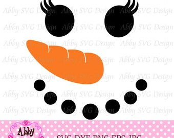 Girl Snowman Face Cut File eps,png,dxf and svg file for the Cutting Machines
