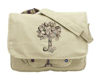 Doodle Tree embroidered Canvas Messenger Bag