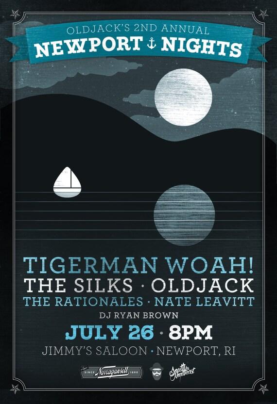 "Oldjack's Newport Nights Gig Poster Tigerman WOAH, The Silks, Oldjack, The Rationales, Nate Leavitt //Jimmy's Saloon, Newport, RI 13""x19"""