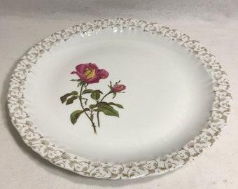 Ancien Plat LIMOGES Dessin Fleurs Rose + Liseret Made in France Vintage