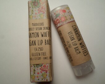 VEGAN-Cinnamon Waffles Vegan Organic Lip Balm-peach sparkly tint(4.25ml)