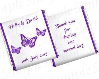 50 Personalised chocolates wedding/anniversary/engagement/birthday - Butterfly design 3