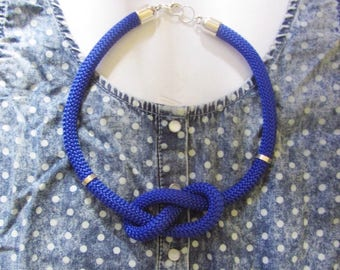 10mm blue knot rope necklace