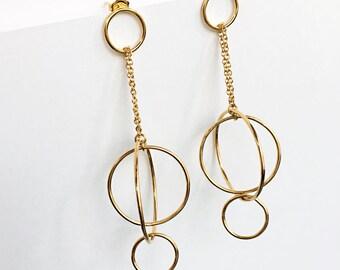 Outlined Circles Drop Earrings /Mixed Rings Earring /Cluster of Rings Earrings /Circle and Chain Earrings /Orbit Of Venus Earrings /HANDMADE