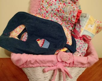 Large Baby Quilt with BiBs and burp Pads