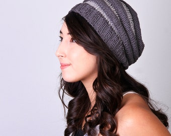 Hemp Slouchy Knit Hat in Charcoal Grey Stripes - One Size Fits All
