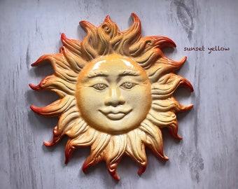 Glowing ceramic sun wall hanging decoration | yellow sun | blue sun | Sardinia ceramics