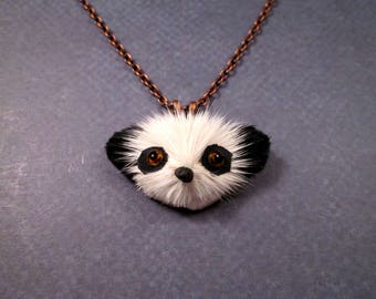 SALE - Fun Fur Necklace, Pretty Panda, Real Rabbit Fur Pendant and Copper Chain Necklace, FREE Shipping U.S.
