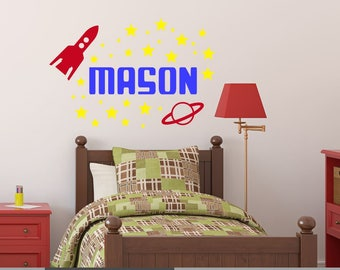 Space Wall Decal, Rocket Ship Decal, Boy Bedroom Decal, Boy Nursery Decal, Outer Space Name Decal