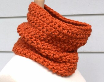crochet scarf crochet cowl, Pumpkin orange hand crochet chunky cowl scarf, circle scarf, women's winter accessory, mothers day gift