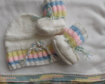 all blanket, hat and booties