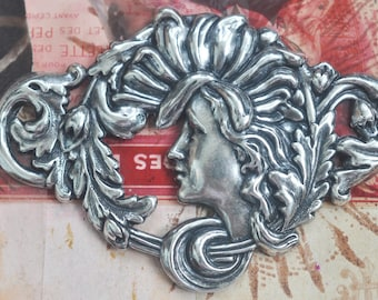 Art Nouveau Lady Centerpiece, Sterling Silver Finish, Brass Stampings Made in the USA