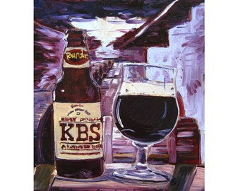 KBS Beer Art, Michigan Beer Poster, Founders Brewing, Stout Beer Art for Men, Craft Beer Gift for Brother, Gift for Husband, Alcohol Bar Art