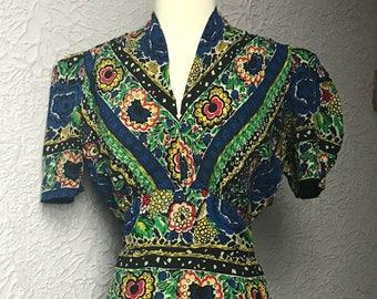 40's Vintage Floral Rayon Dress Med/large