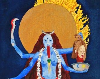 Tantric Kali Painting - Giclee print, fine art, goddess, hinduism, egg tempera witchcraft witchy decor, magic divine feminine wrathful deity