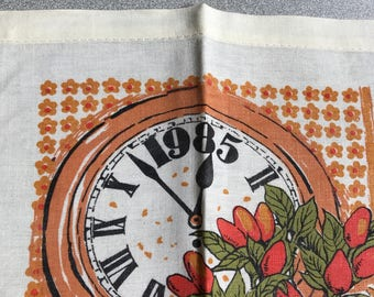 Vintage Tea Towel Calendar 1985