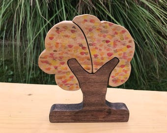 Fall Wood Tree, Tree Puzzle, Waldorf Toy, Fall Decoration, Montessori Materials, Wooden Toy Tree