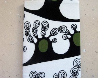 A5 Fabric Covered Notebook, Diary or a Journal. Reusable. Black and white 100% Cotton. Fully Lined. For Teacher, Student. Back to school.