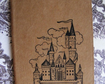 Fairytale Castle Kraft Journal Cahier Journal Notebook Handmade Vintage Style Pocketbook Size Perfect for Wedding Favor or Gift