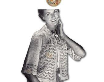Vintage Knitting Pattern 1950s Lacy Bed jacket to Knit for Women - Instant Download PDF - PrettyPatternsPlease