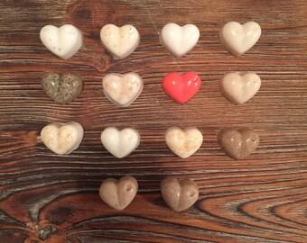 Soap Sampler Set; Goat's Milk Bar Soap Set; Heart Soap; Mini Soaps; Valentine's Day Gift